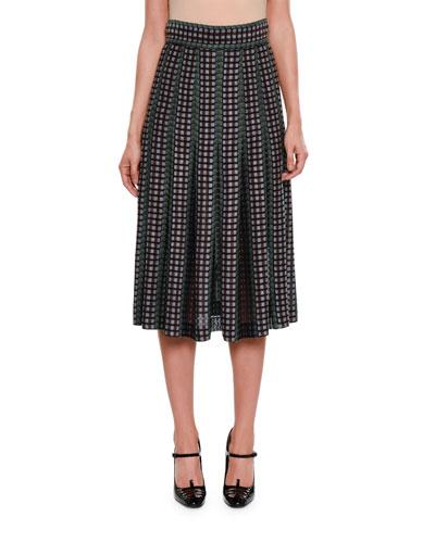 Pleated Chenille Midi Skirt
