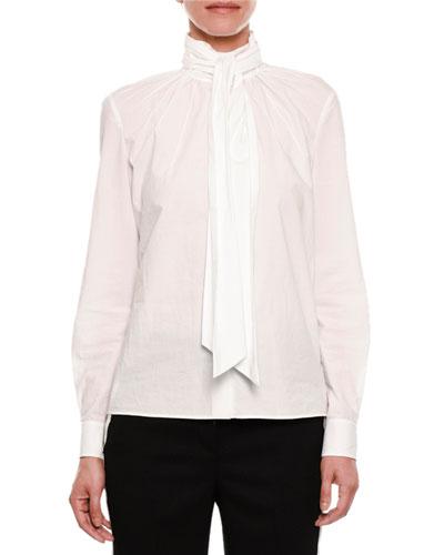 Cotton Blouse w/Neck Tie