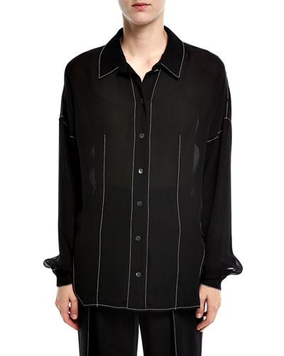 Contrast Stitched Blouse