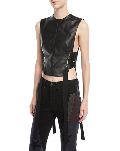 Fencing Lace-Up Leather Top