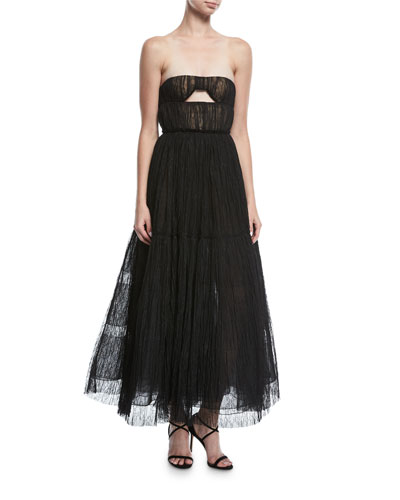 Strapless Lace Tulle Midi Gown