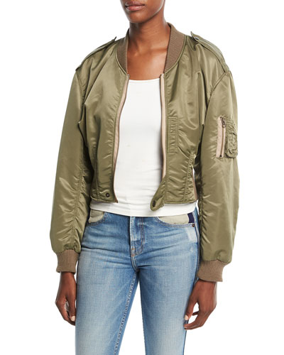 Cropped Satin Bomber Jacket