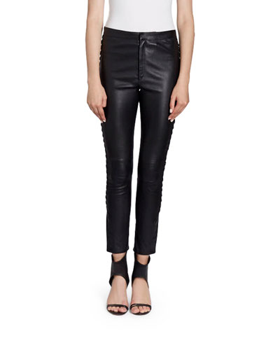 Pretley Cropped Leather Side-Lace Pants