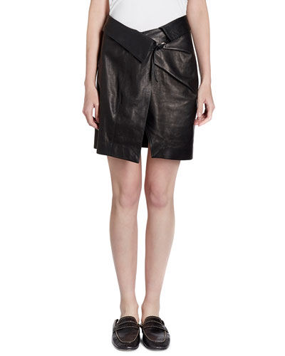 Baixa Leather Wrap Skirt