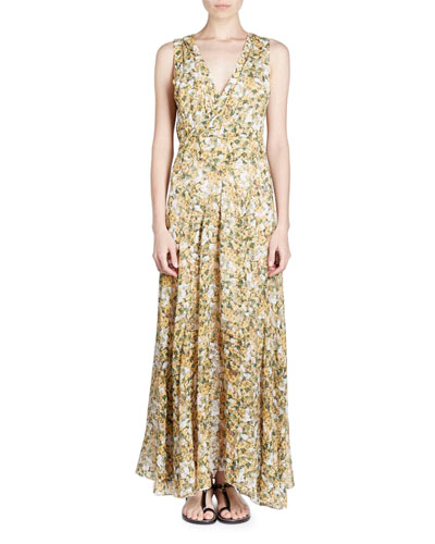 Flessy Sleeveless Floral-Print Maxi Dress