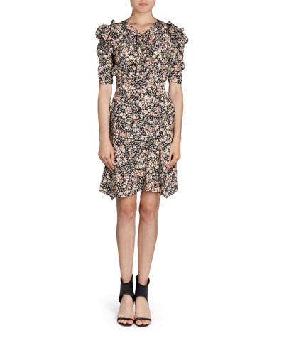 Brizo Puffed-Sleeve Floral-Print Top