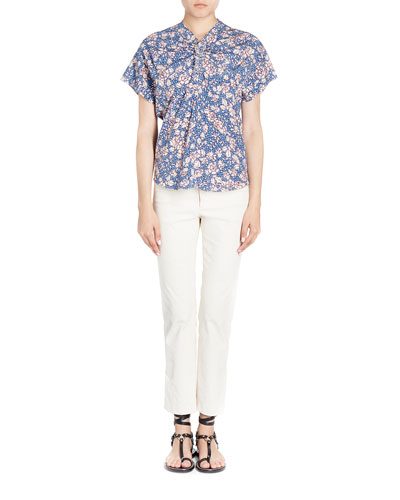 Baga Ruched Floral-Print Blouse
