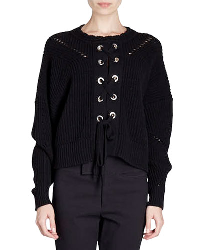 Lacy Grommet-Studded Lace-Up Sweater