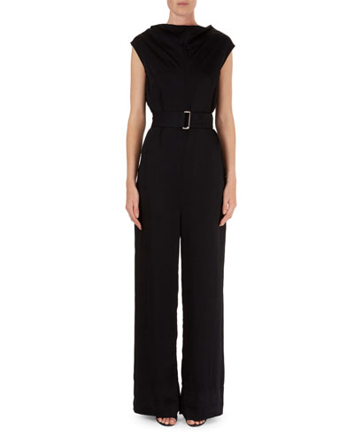 Belted Cap-Sleeve Crepe Jumpsuit