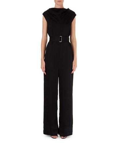Belted Cap-Sleeve Crepe Jumpsuit