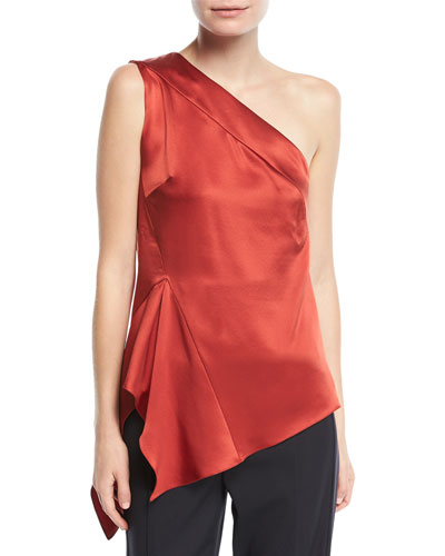 One-Shoulder Handkerchief-Hem Silk Top
