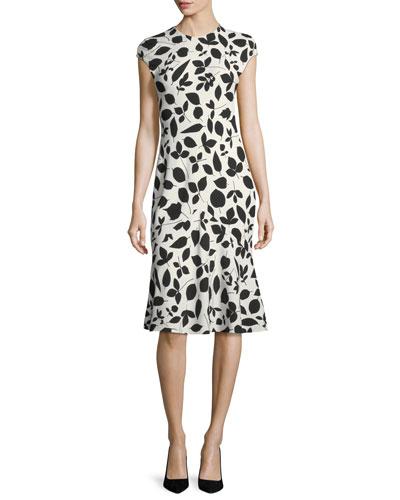 Cap-Sleeve Leaf-Print Flounce Dress