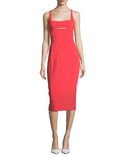 Square-Neck Bodice-Slice Sheath Scuba Dress
