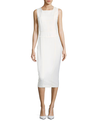 Sleeveless Seamed Sheath Wool Dress