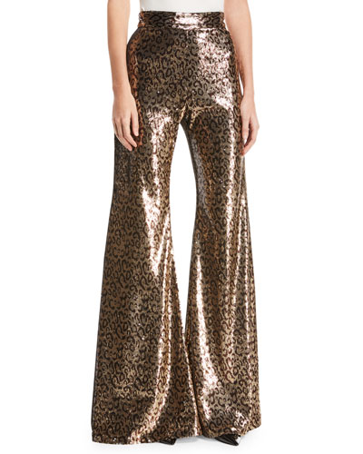 Sequined Leopard-Print Pants