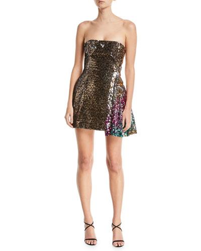 Sequined Leopard-Print One-Shoulder Cocktail Dress