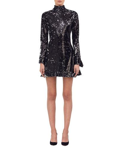 Metallic Sequined Turtleneck Dress