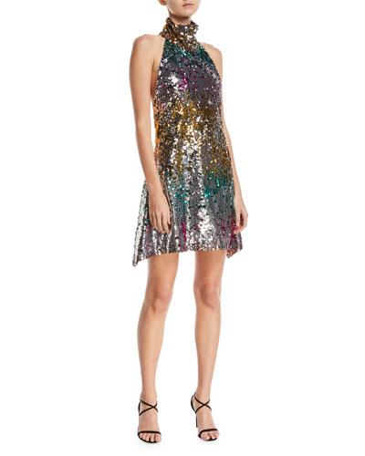 Sequined Halter Midi Dress