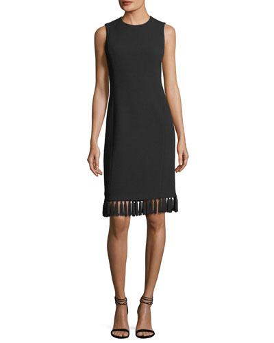 Tassel-Trim Sleeveless Shift Dress