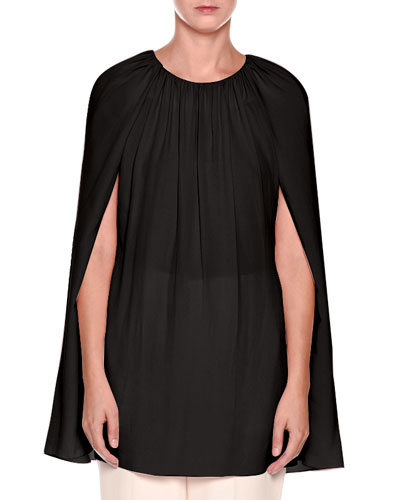 Gathered-Neck Chiffon Cape Blouse