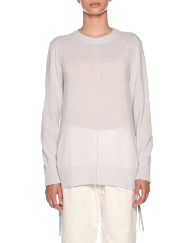 Crewneck Long-Sleeve Cashmere Sweater with Zip Sides