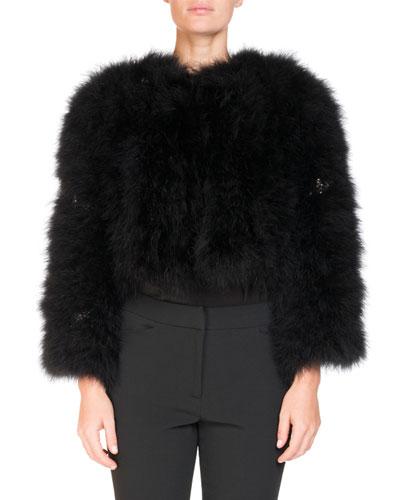 Ivett Cropped Feather-Embellished Jacket