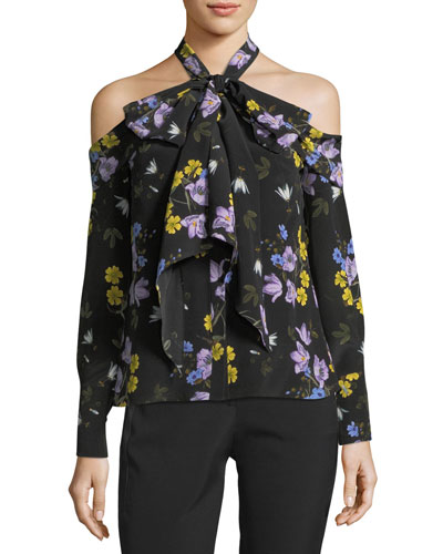 Aila Floral Cold-Shoulder Top