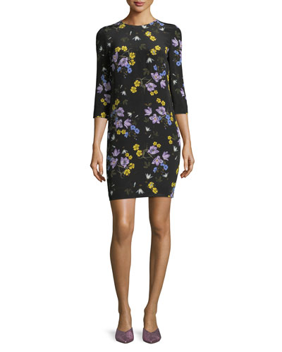 Emma 3/4-Sleeve Floral Dress