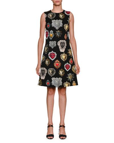 Sleeveless A-Line Heart Brocade Dress