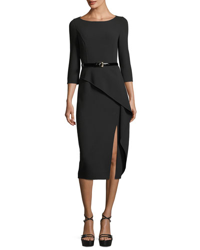 3/4-Sleeve Asymmetric Peplum Dress