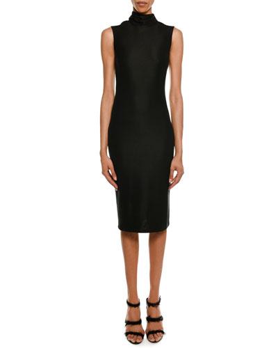 Sleeveless Open-Back Turtleneck Dress
