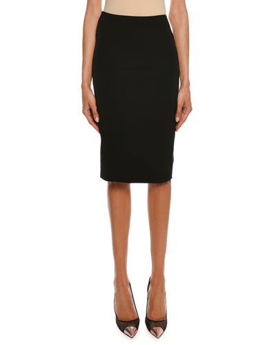 Washed Stretch Pencil Skirt