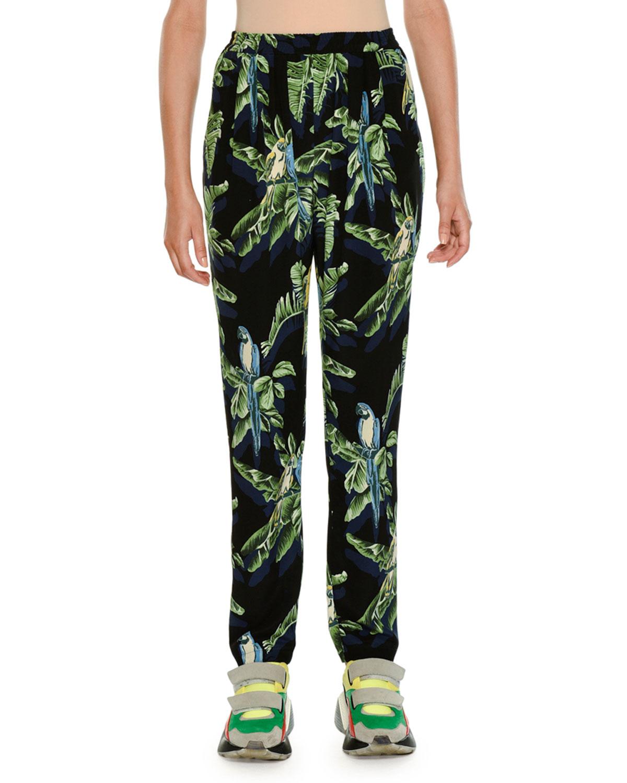 Tropical-Print Skinny Pants