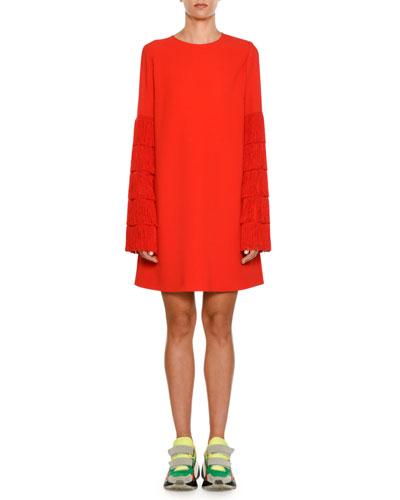 Tiered Fringe-Sleeve Shift Dress