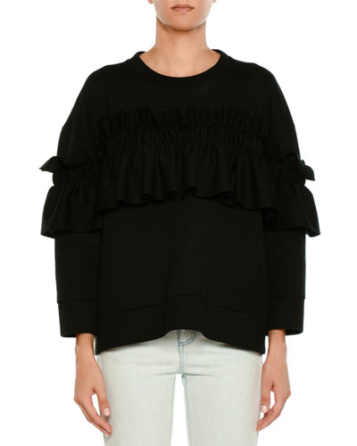 Ruffle-Front Crewneck Sweater