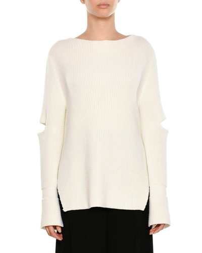 Ribbed Elbow-Slit Pullover Sweater