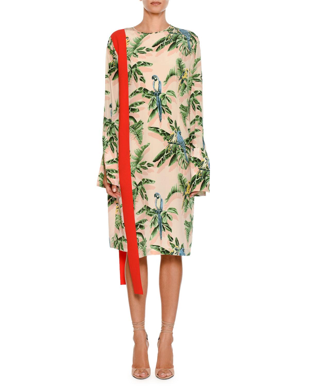 Long-Sleeve Tropical-Print Dress