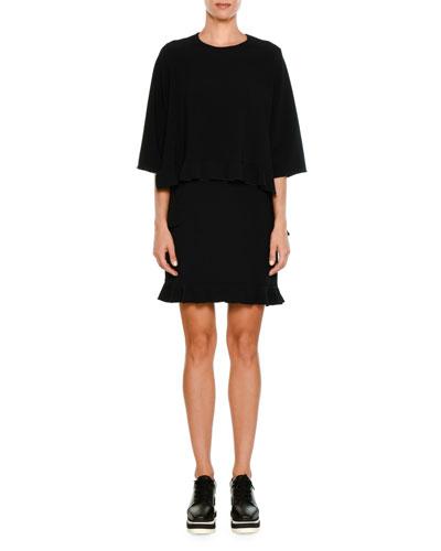 Ruffled Half-Sleeve Cady Dress