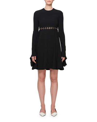 Long-Sleeve Hook Cutout Dress