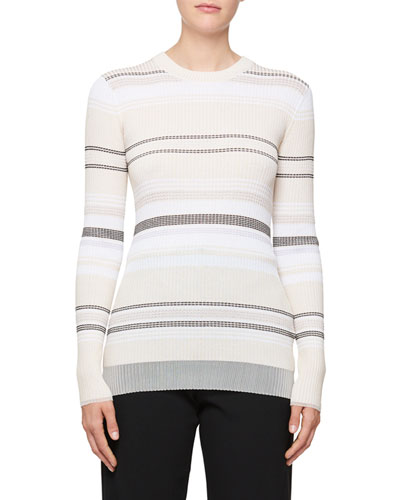 Long-Sleeve Stripe Ribbed Sweater