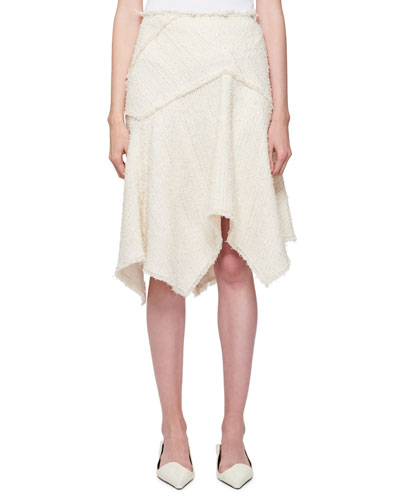 Asymmetric Boucle Tweed Skirt