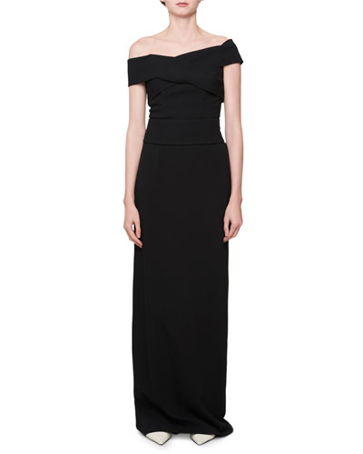 Off-the-Shoulder Cross-Front Gown
