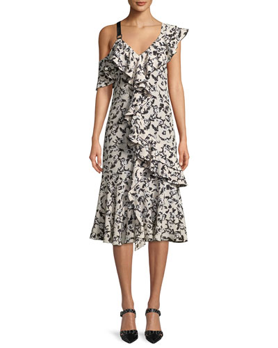 One-Shoulder Ruffle Floral-Print Silk Midi Dress