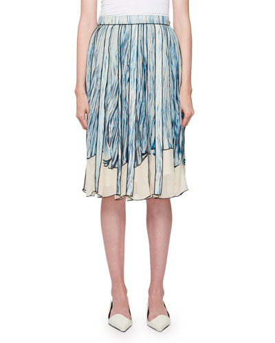 Printed Silk Pleated Skirt
