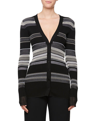 V-Neck Multi-Stripe Cardigan Sweater