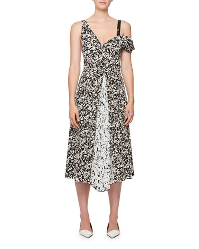 Floral-Print Dress w/ Open Shoulder