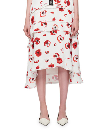 Tiered Poppy-Print Midi Skirt