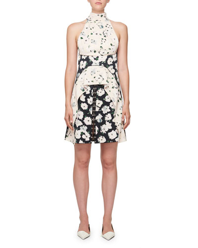 Sleeveless Floral-Print Hook Mini Dress