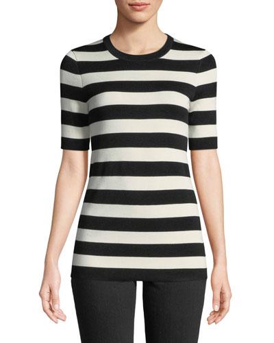 Crewneck Short-Sleeve Striped Knit Tee