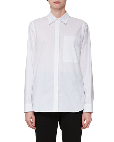 Long-Sleeve Hook-Back Collared Blouse